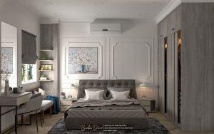 thiết kế không gian phòng ngủ theo phong cach trung tính, cổ điển