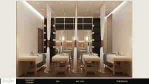 Mẫu thiết kế không gian chăm sóc spa mini với giường được phân biệt lập sang chảnh