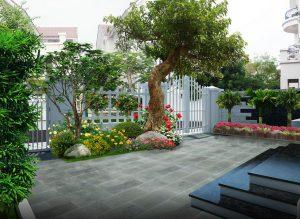 phong thủy sân vườn với việc trang trí đầy hoa