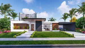 thiết kế ngoại thất nhà phố sân vườn