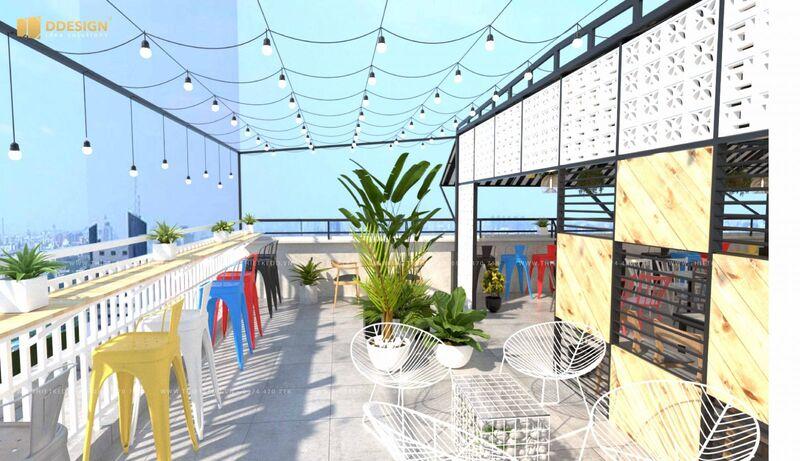 Không gian thông thoáng, rộng rãi do thiết kế ngoài trời của quán cafe sân thượng