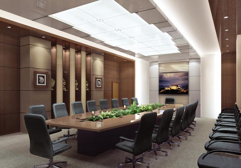 Sử dụng chủ yếu là tone màu nâu, trắng để tạo cảm giác tinh tế, trang nhã, lịch sự cho không gian của phòng họp