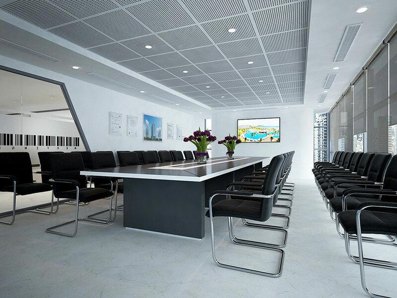 Thiết kế phòng họp với các màu cơ bản như xám, đen và trắng
