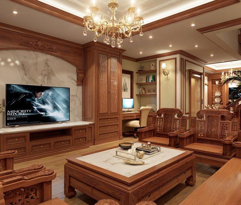 Bàn ghế phòng khách được làm bằng chất liệu gỗ