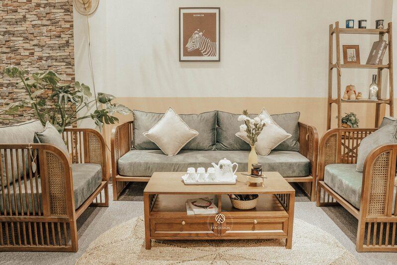 Sofa gỗ giúp mang lại vẻ đẹp tinh tế, sang trọng cho không gian phòng khách